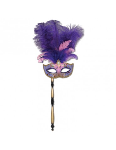 FEATHERED MASK W/STICK PURPLE