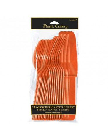 PLASTIC CUTLERY - ORANGE (24)