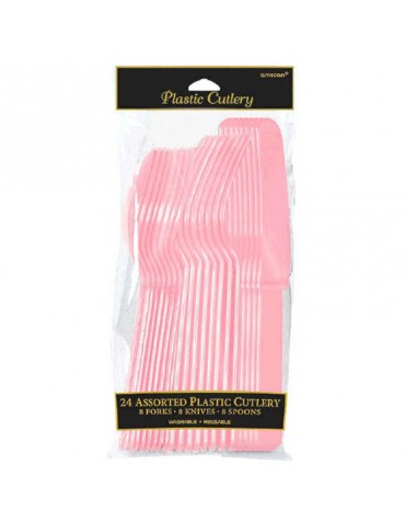PLASTIC CUTLERY - PINK (24)