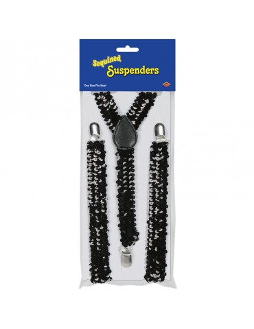 SEQUINED SUSPENDERS - BLACK