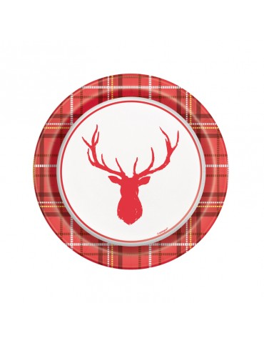"PLAID DEER XMAS 7"" PLATE (8)"