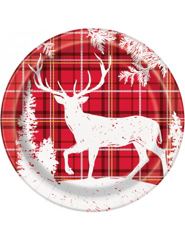 "PLAID DEER XMAS 9"" PLATE (8)"