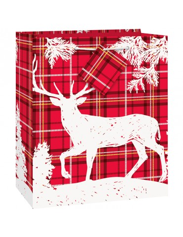 PLAID DEER XMAS GIFT BAG...