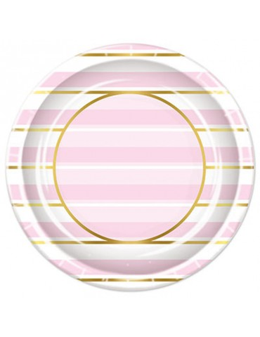 "STRIPED 9"" PLATE - PINK AND..."
