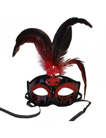 FEATHER FANCY MASK - RED