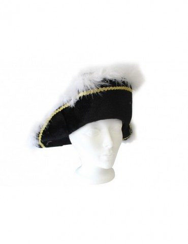 PIRATE HAT WITH FEATHER TRIM