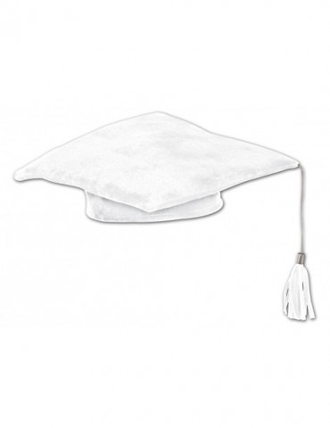 "10"" PLUSH GRADUATE CAP - WHITE"